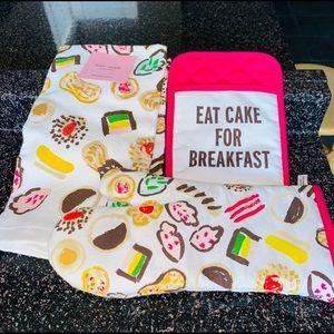 Kate spade oven mitten towel set pink multi